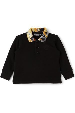 VERSACE Baby Black Baroccoflage Collar Long Sleeve Polo