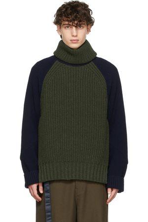SACAI Khaki & Navy Wool Detachable Turtleneck Sweater