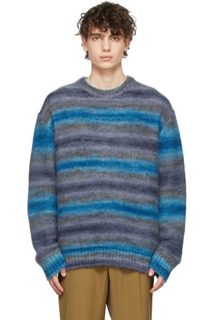 WOOYOUNGMI Blue Mohair Striped Sweater