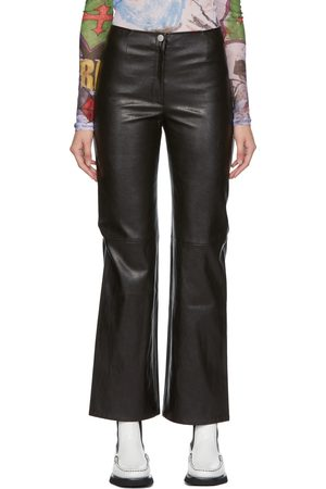 OUR LEGACY Black Faux-Leather Biker Trousers