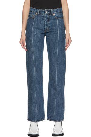 OUR LEGACY Blue Linear Cut Straight-Leg Jeans