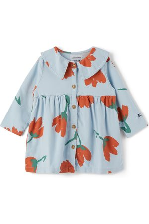 Bobo Choses Baby Blue & Red Buttoned Big Flowers Dress