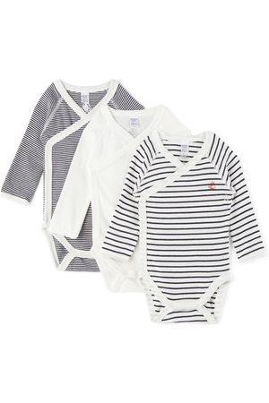 Petit Bateau 3-Pack Baby Organic Cotton Wrapover Bodysuit