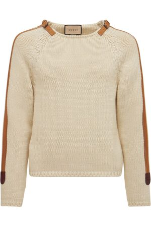 Gucci Wool Knit Sweater W/ Leather Details