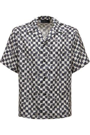 AMIRI Men Shirts - Logo Check Print Silk Twill Shirt