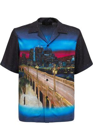 AMIRI Men Shirts - Cityscape Print Silk Twill Shirt