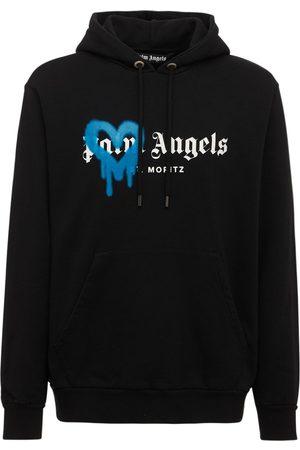 Palm Angels St Moritz Heart Spray Cotton Hoodie