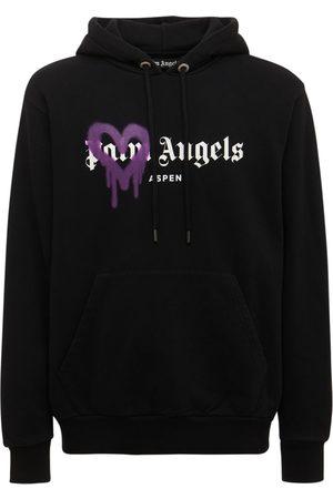 Palm Angels Aspen Heart Spray Cotton Jersey Hoodie