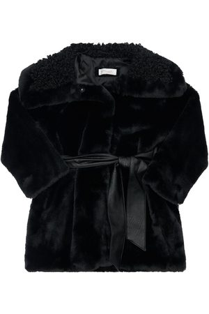 MONNALISA Faux Fur Coat W/ Belt
