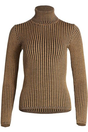 Saks Fifth Avenue COLLECTION Two-Tone Ribbed Wool Turtleneck