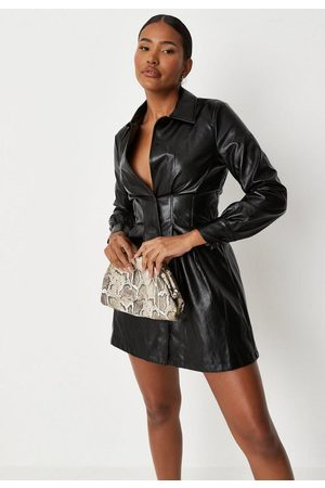 Missguided Faux Leather Corset Detail Shirt Dress