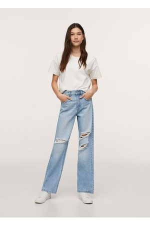 MANGO TEEN Straight-fit decorative rips jeans
