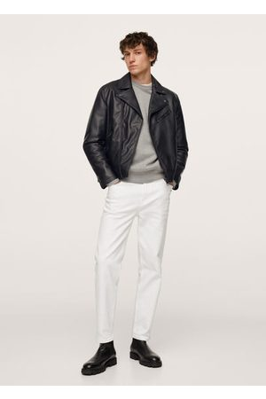 MANGO Men Leather Jackets - Faux-leather biker jacket