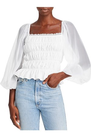 LUCY PARIS Smocked Long Sleeve Top