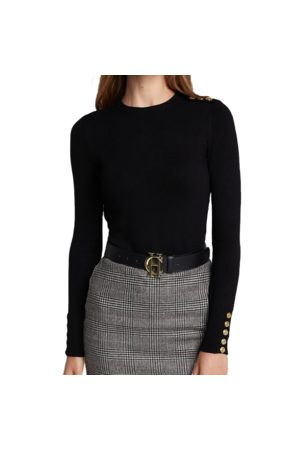 Holland Cooper Ladies Buttoned Knit Crew Neck