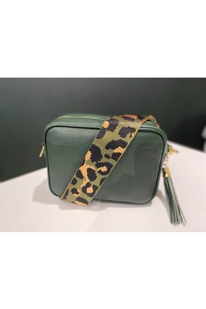 Elie Beaumont Crossbody Olive (Olive Leopard Strap)