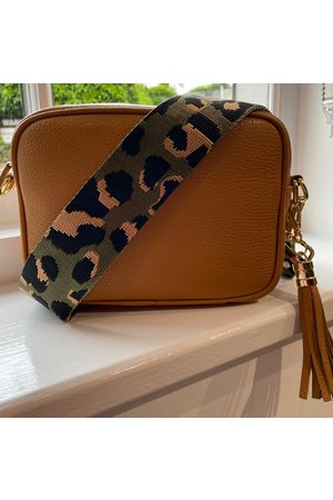Elie Beaumont Crossbody Tan (Olive Leopard Strap)