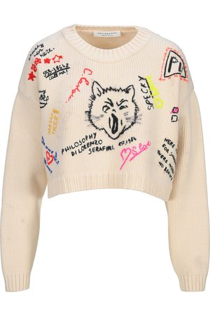 Philosophy Women Sweaters - Graphic-embroidered cropped jumper