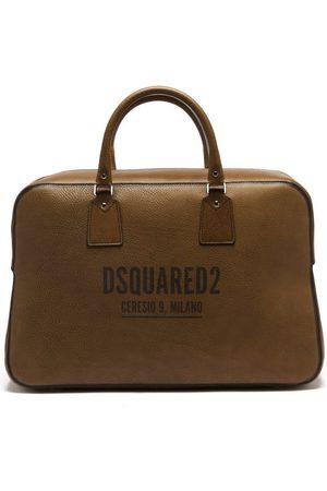 Dsquared2 Men Travel Bags - Logo-print Grained-leather Holdall - Mens - Dark