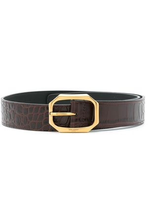 Saint Laurent Women Belts - Crocodile embossed leather belt