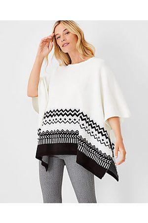 ANN TAYLOR Women Ponchos & Capes - Shimmer Fair Isle Poncho Sweater