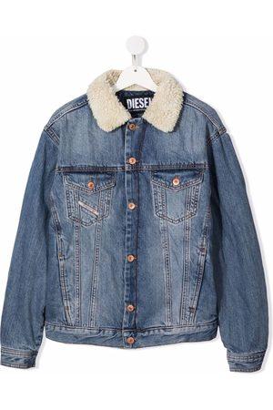 Diesel Denim Jackets - TEEN shearling collar denim jacket