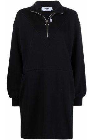 Msgm Slogan-embroidered jersey jumper dress