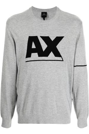 Armani Logo-print long-sleeve jumper - Grey