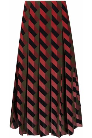 Salvatore Ferragamo Geometric-print silk midi skirt