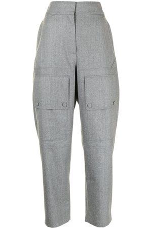 Stella McCartney Women Straight Leg Pants - High-waist panelled trousers - Grey