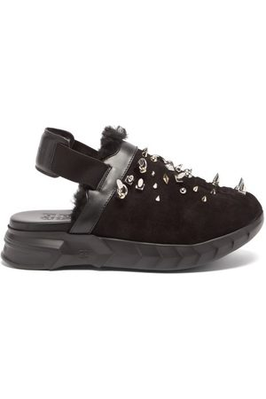 Givenchy Women Loafers - Marshmallow Studded Suede Slingback Loafers - Womens