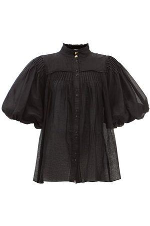 AJE Wilderness High Neck Puff Ss Shirt Cotton - Womens