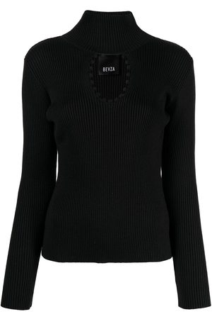 BEVZA Cut out-detail roll neck top