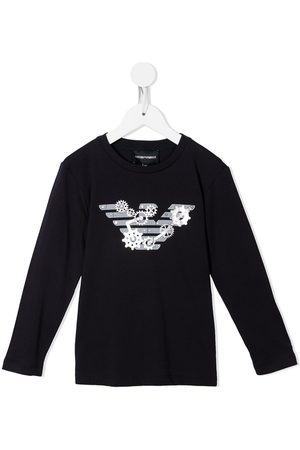 Emporio Armani Long Sleeve - Monogram-print long-sleeved T-shirt