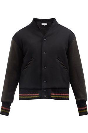 Sasquatchfabrix. Wa-neck Leather And Wool-blend Bomber Jacket - Mens