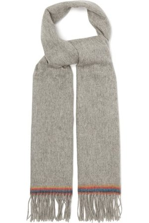 Paul Smith Artist-stripe Fringed Wool Scarf - Mens - Grey