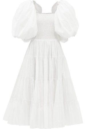 AJE Cherished Puffed-sleeve Cotton Midi Dress - Womens - Ivory