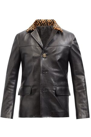 VERSACE La Greca-collar Leather Jacket - Mens