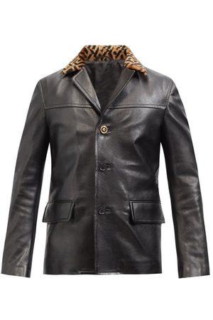 VERSACE Men Leather Jackets - La Greca-collar Leather Jacket - Mens