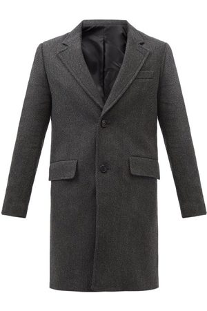Ami Single-breasted Wool-blend Herringbone Overcoat - Mens - Dark Grey
