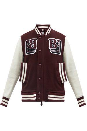 Burberry Men Leather Jackets - Logo-patch Leather-trim Wool-blend Varsity Jacket - Mens