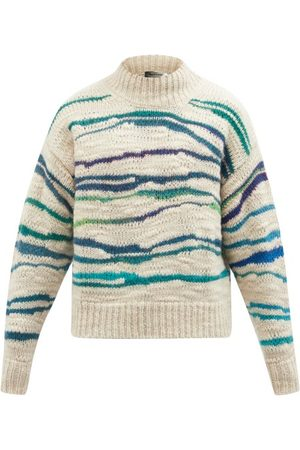 Isabel Marant Seth Marbled-stripe High-neck Wool-blend Sweater - Mens - Multi