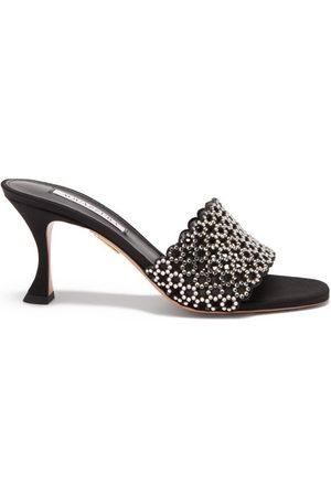 Aquazzura Candy 75 Crystal-embellished Leather Mules - Womens