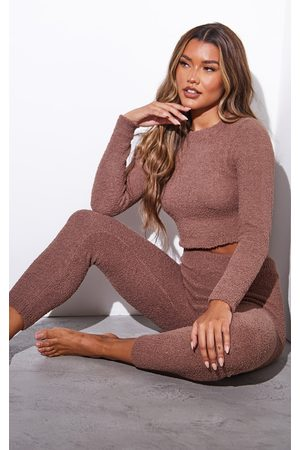 PRETTYLITTLETHING Women Long sleeves - Chestnut Popcorn Chenille Mix And Match Long Sleeve PJ Top