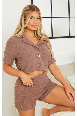 PRETTYLITTLETHING Chestnut Popcorn Chenille Mix And Match Button Up Pj Shirt