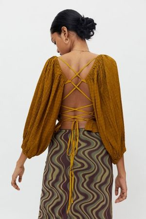 Urban Outfitters Women Tops - UO Vida Lace-Back Smocked Top