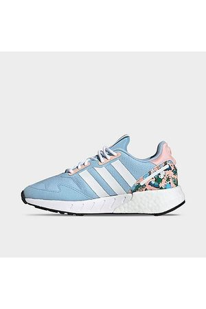adidas Girls' Big Kids' Originals ZX 1K Boost Casual Shoes in /Clear Sky Size 3.5 Suede/Knit