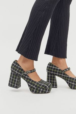 Urban Outfitters UO Sadie Plaid Mary Jane Platform Heel