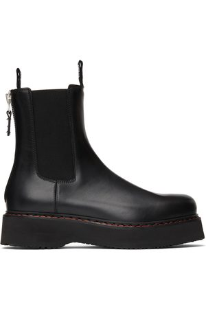 R13 Black Single Stack Chelsea Boots