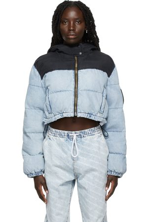 Alexander Wang Blue & Black Cropped Puffer Jacket